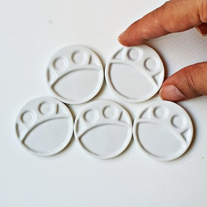 5x White Ceramic Round Tray for Dollhouse Miniature Food Cake Bakery Supply