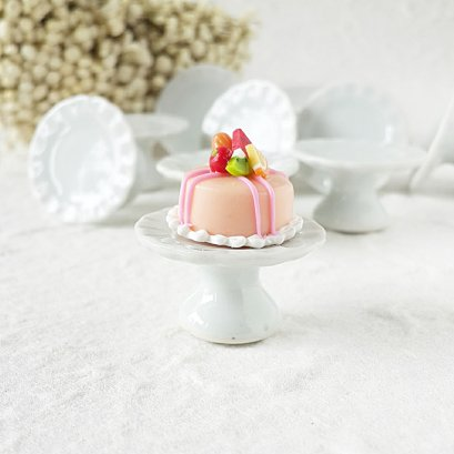 5 x 2.4 cm. Ceramic White Cake Stand for Dollhouse Miniatures Cake Bakery Decorations