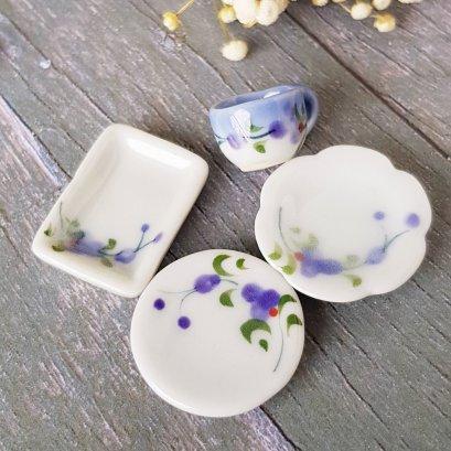 Dollhouse Miniatures Tableware Ceramic Plate Dish Set