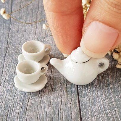 Dollhouse Miniatures Ceramic Tableware Coffee Tea Cup Set