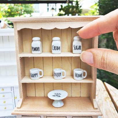 Dollhouse Miniature Ceramic Tableware  1/12 Decoration Set 7 Pcs.