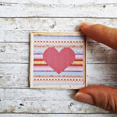 Dollhouse Miniatures Heart Cross Stitch Wall Decoration