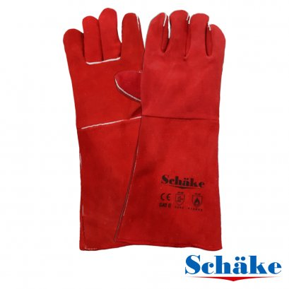 "Leather Gloves 16"" Red Schake"