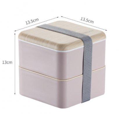 กล่องอาหารฝาลายไม้,กล่องข้าวพลาสติกฝาลายไม้,Lunch Box