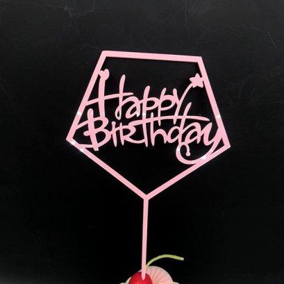 Cake Topper Acrylic Pink BHD