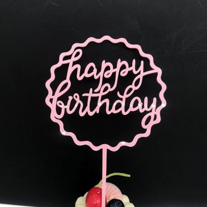 Cake Topper Acrylic Pink SMC