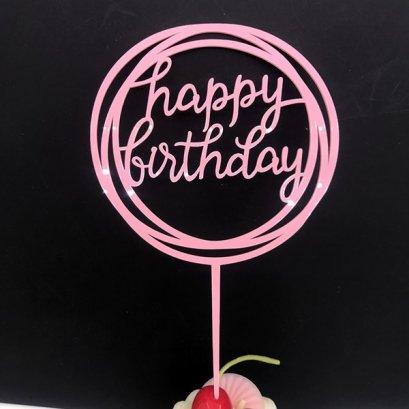 Cake Topper Acrylic Pink SMR