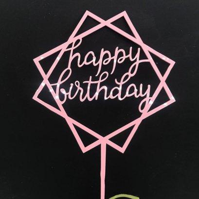 Cake Topper Acrylic Pink SHM
