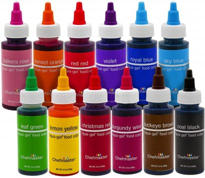 Chefmaster Liqua-Gel Food Color 2.3oz Set  : 12 colors