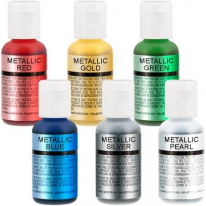 Chefmaster Airbrush Cake Pearlescent Shimmer Metallic Color Set - The 6 Most Popular Metallic Colors in 0.7 fl. oz. (20ml)