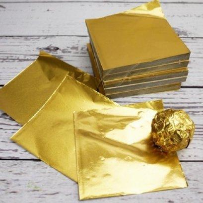แผ่นฟอยล์สีทองขนาด 9.5*9 cm 100 แผ่น - Gold Foil Paper For Chocolate