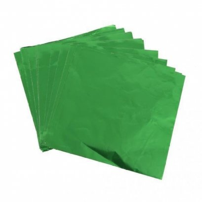 แผ่นฟอยล์สีเขียวขนาด 9.5*9 cm 100 แผ่น - Green Foil Paper For Chocolate