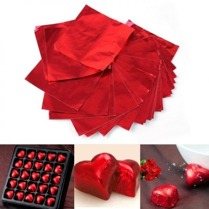 แผ่นฟอยล์สีแดงขนาด 9.5*9 cm 100 แผ่น - Red Foil Paper For Chocolate