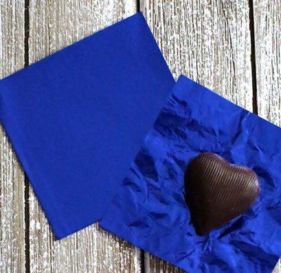 แผ่นฟอยล์สีน้ำเงินขนาด 9.5*9 cm 100 แผ่น - Royal Blue Foil Paper For Chocolate