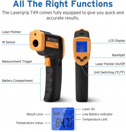 ปืนวัดอุณหภูมิ Infrared Thermometer Temperature Gun Non-Contact Digital Laser (-50℃ ~ 380℃)