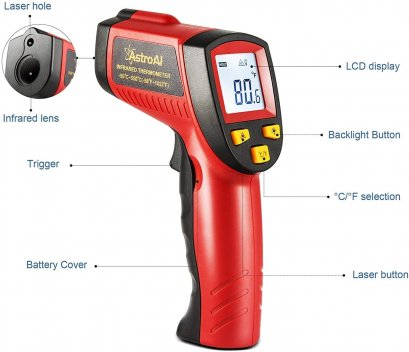 ปืนวัดอุณหภูมิ Digital Laser Infrared Thermometer Temperature Gun  (-50℃~380℃)