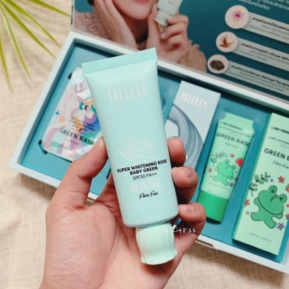 MILLE SUPER WHITENING ROSE BABY GREEN SPF 30 PA++ 30g.
