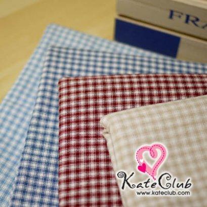 (เหลือสีเบจ ค่ะ) ผ้าทอ มาซาโกะ No.55 ลายสก็อตเล็กสลับขาว (1/4 เมตร) **คลิกเลือกสีด้านใน