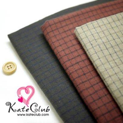 (เหลือแค่สีน้ำตาลดำ) ผ้า Country - ลายตาราง Yoko No.21 (ขนนุ่ม) - 1/4 เมตร **คลิกเลือกสีด้านใน
