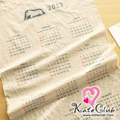SALE- ผ้าบล็อคคอตตอนผสมลินิน - ลาย Calendar 2013 (1 บล็อคขนาด 45x65cm)