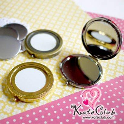 (สีทองเหลืองหมดค่ะ) ตลับกระจกพกพา มาพร้อมฝาอลูมิเนียมสำหรับห่อผ้า (เส้นผ่านศก.7 cm)