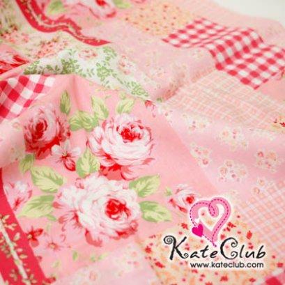 ผ้า Cotton ลายดอกกุหลาบ Medium Pastel  - โทนชมพู (1/4 ม.= 50 x 55cm)
