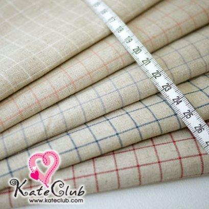 SALE - ผ้าคอตตอนผสมลินิน - ลายเส้นตาราง (1/4หลา=45x74cm)  **ขนาดใหญ่กว่าปกติค่ะ