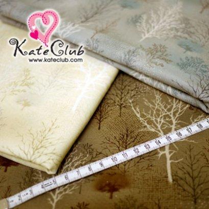 (สีครีมหมดค่ะ) ผ้า Cotton ลายต้นไม้ (1/4 ม.= 50 x 55cm)