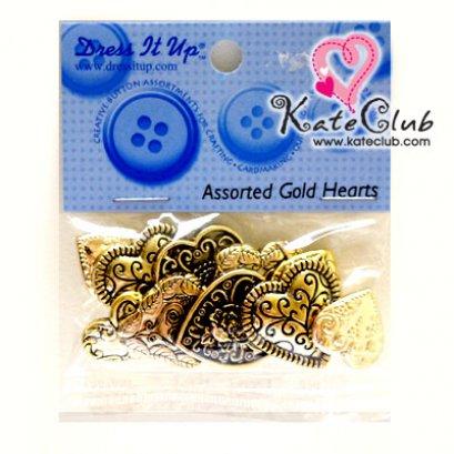 กระดุม Assorted Gold Hearts - 13