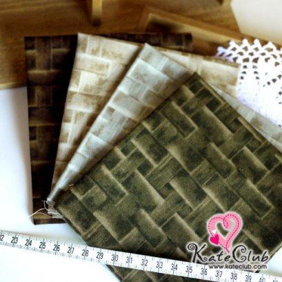 ผ้า Set No.16 ลายตะกร้าสาน Yoko ชิ้นละ 1/8 เมตร x 4 ชิ้น (27.5x50cm)