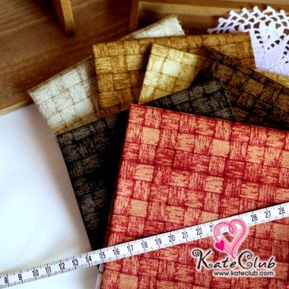 ผ้า Set No.41 ลายตะกร้าสาน 13 mm ชิ้นละ 1/8 เมตร x 6 ชิ้น (27.5x50cm)