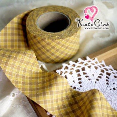 ผ้ากุ๊นสำเร็จรูป (ผ้า Country) เกาหลี No.238 - สีเหลือง หน้ากว้าง 4 ซม. พร้อมเย็บสะดวกสุดๆ 1 หลา