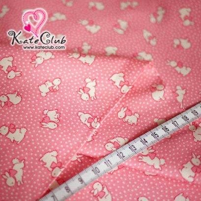 ผ้า Cotton - ลายกระต่าย สีชมพู (1/4 ม.= 50 x 55cm)