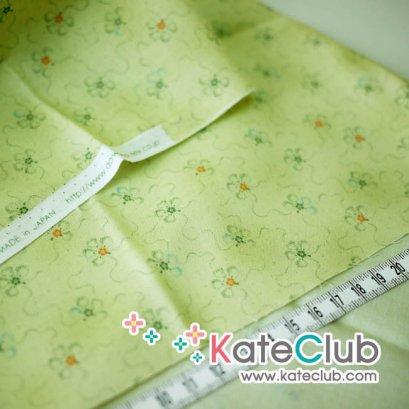 SALE - (เหลือ 1/2 ม.) ผ้า Cotton ลายดอกไม้ สีเขียว (ตัดขาย 1/4 เมตร=50x55cm)