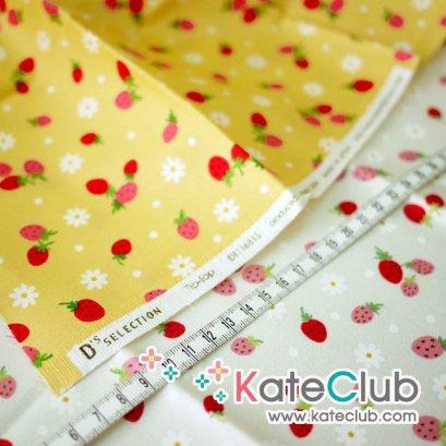 SALE - (สีเหลืองเหลือ 1/2 ม. ) ผ้า Cotton ลายสตอเบอร์รี่ และดอกไม้ (ตัดขาย 1/4 เมตร=50x55cm)