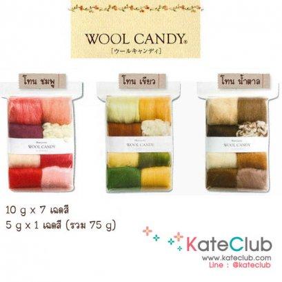 (เหลือแค่ โทนชมพู ค่ะ) Set ใยขนแกะ Hamanaka Felt Wool Candy จากญี่ปุ่น 10 g x 7 และ 5 g x 1 เฉดสี (รวม 75 g)
