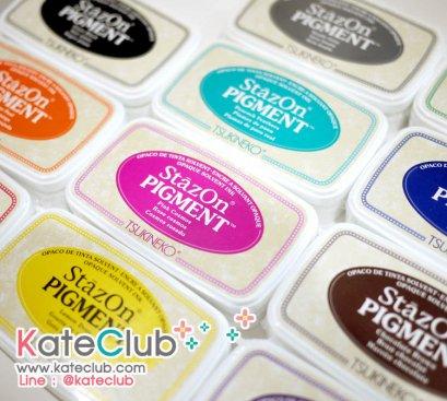 (สี ชอคโกแลต, น้ำเงิน, ขาว, แดง หมดค่ะ) หมึก StazOn Pigment หมึกกันน้ำ ปั๊มพลาสติก, โลหะ, หนัง, ผ้า และอื่นๆ