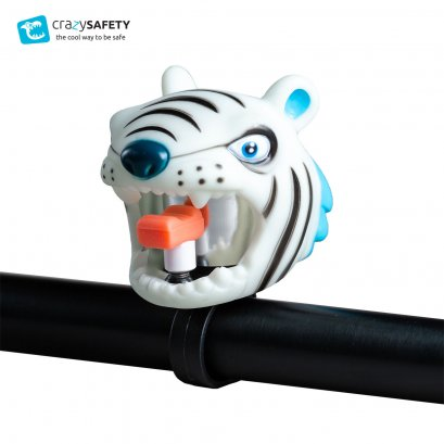 Crazy Safety Kids Bicycle Bell - White Tiger