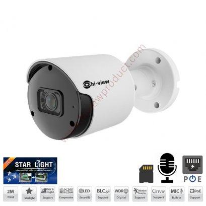HP-78B20STPE กล้องวงจรปิดไฮวิว ระบบไอพี 2 ล้านพิกเซล ใช้งานภายนอกและภายใน ภาพสีแม้แสงน้อย มีไมค์ในตัว บันทึกภาพและเสียง Hiview Bullet Starlight Lens Fixed lens 2.8 mm IP Camera PoE 2 MP Mic-Built-in