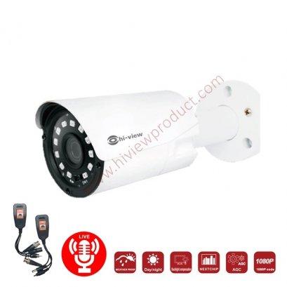 HA-524B20M with Balun กล้องวงจรปิดไฮวิว 2 ล้านพิกเซล ใช้งานภายนอกและภายใน มีไมค์ในตัว บันทึกภาพพร้อมเสียง (Hiview Bullet Camera 2 MP 4 in 1 Mic built-in) สินค้ารวมบาลัน HG-8400AD