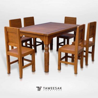 ชุดโต๊ะอาหารไม้สัก DS031