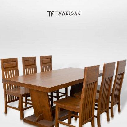 ชุดโต๊ะอาหารไม้สักแท้