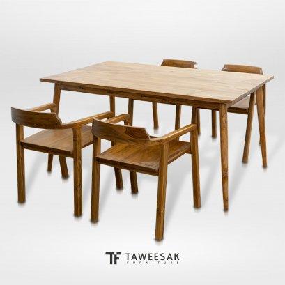 ชุดโต๊ะอาหารขากลึงโมเดิร์นไม้สัก DS035