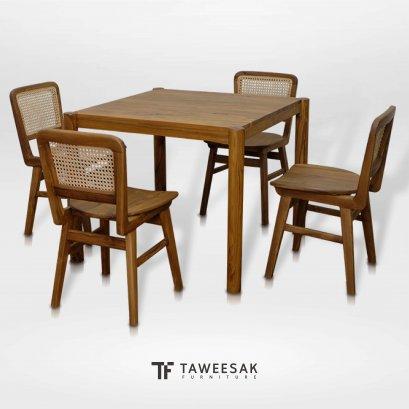 ชุดโต๊ะอาหารแต่งหวาย DS077
