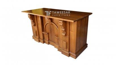 โต๊ะทำงานทรงโรมันไม้สัก AT007