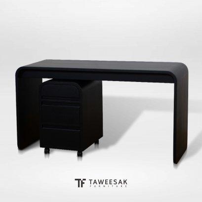 โต๊ะทำงานไม้สักแท้พร้อมตู้ลิ้นชัก สไตล์โมเดิร์น AT044