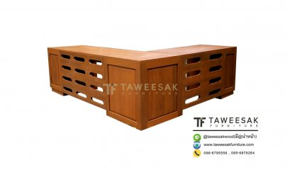 โต๊ะทำงานตัวแอลไม้สักถอดประกอบได้ AT010