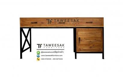 โต๊ะทำงานไม้สักผสมเหล็ก AT011
