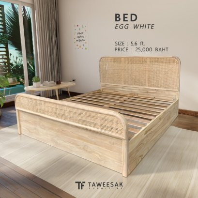 Mona Bed เตียงไม้สักผสมหวายแท้ BE089
