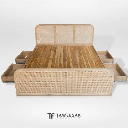 Duffin เตียงไม้สักเก็บของ BE135
